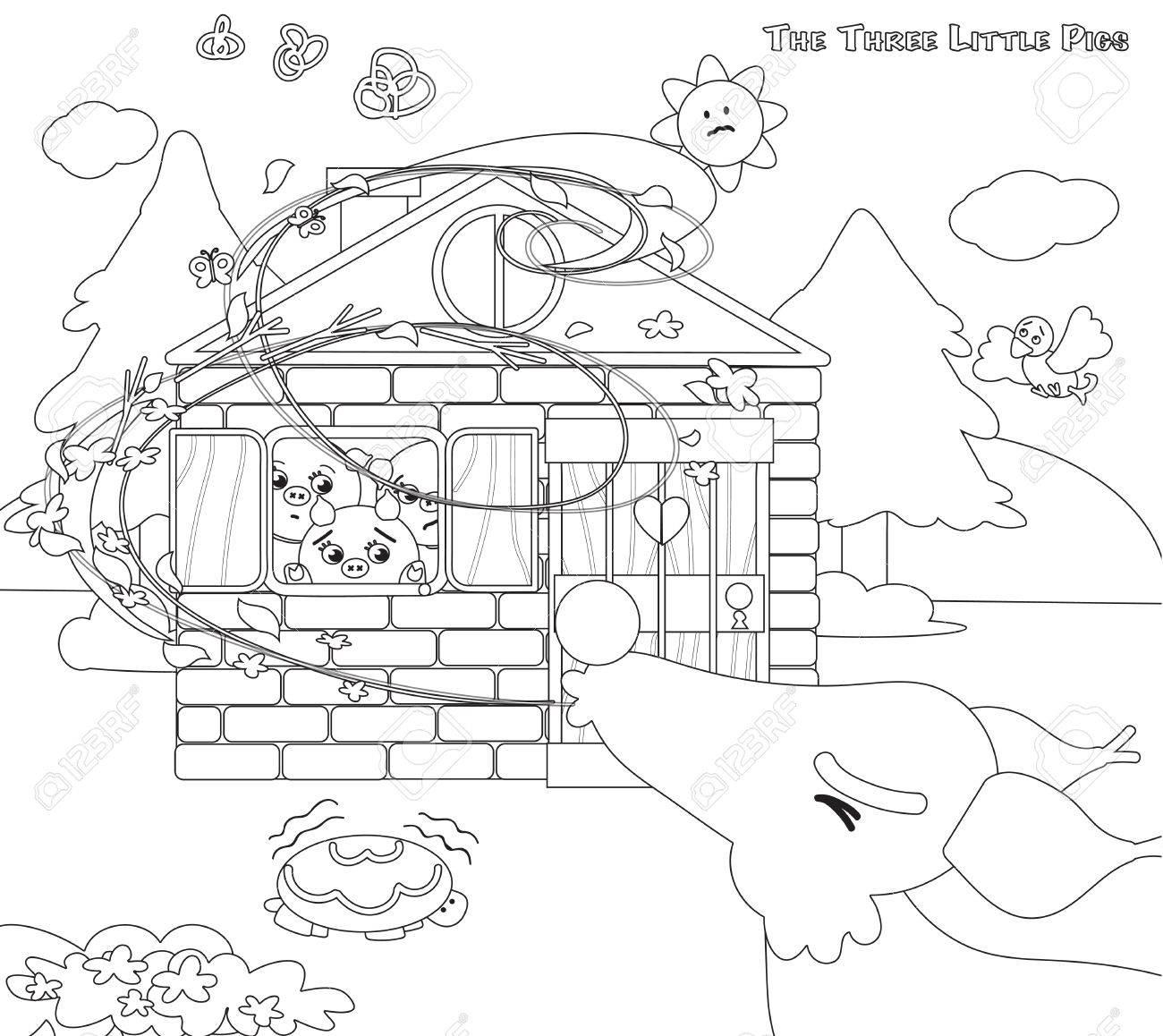 Dibujos Para Colorear Tres Pequeños Cerdos Lobo Soplando 10 ...