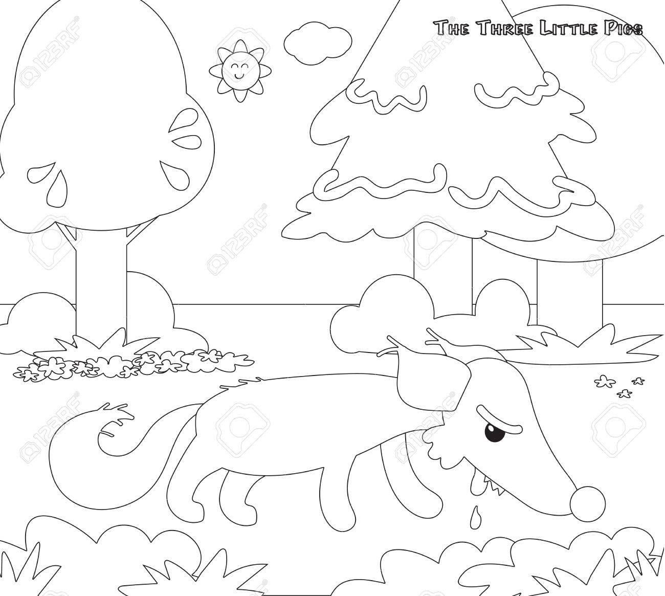 Colorier Trois Petits Cochons 11 Le Loup Affamé Clip Art Libres De