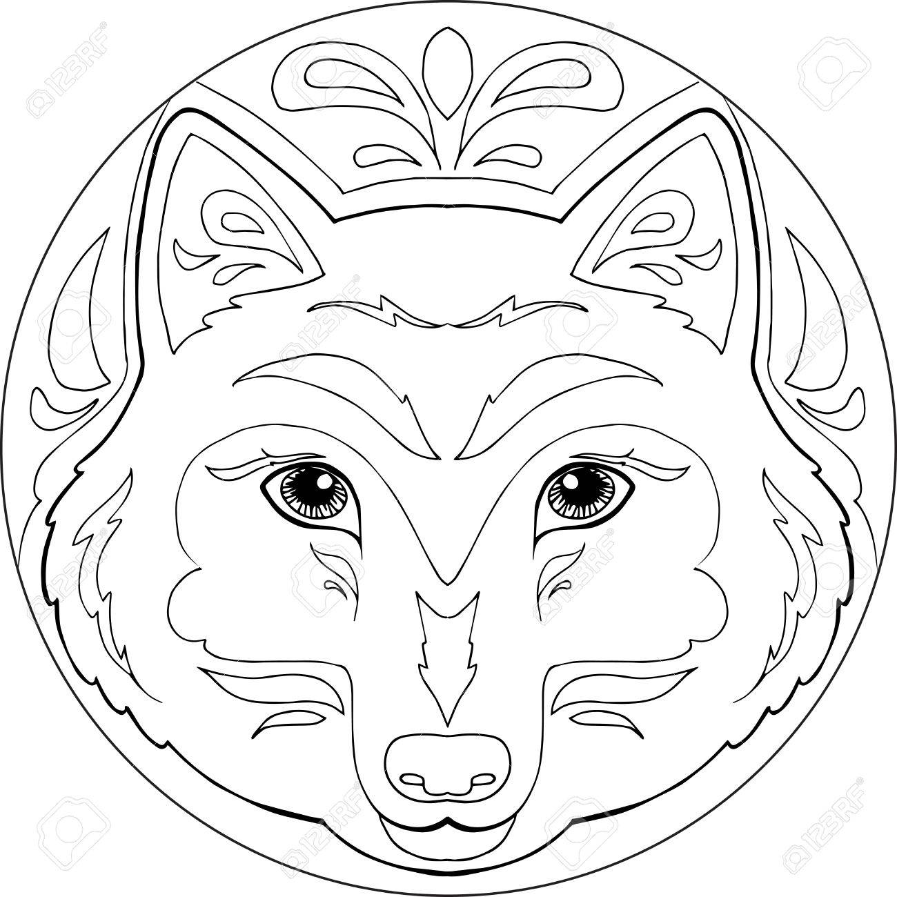 Decorative Coloring Mandalas With Wolf Head Royalty Free Cliparts