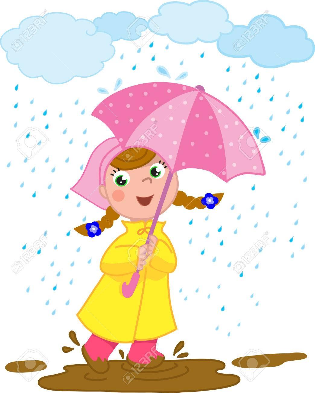 Muchacha Sonriente Que Juega Con La Taza En Un Día Lluvioso ...
