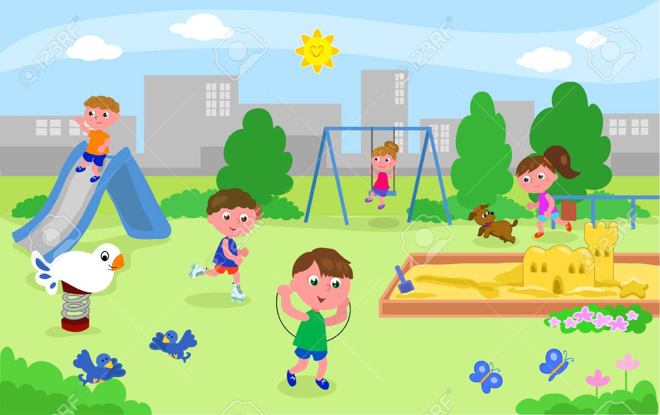 Five Children And A Dog Playing At The Park, Vector Illustration Royalty  Free Cliparts, Vectors, And Stock Illustration. Image 80708036.