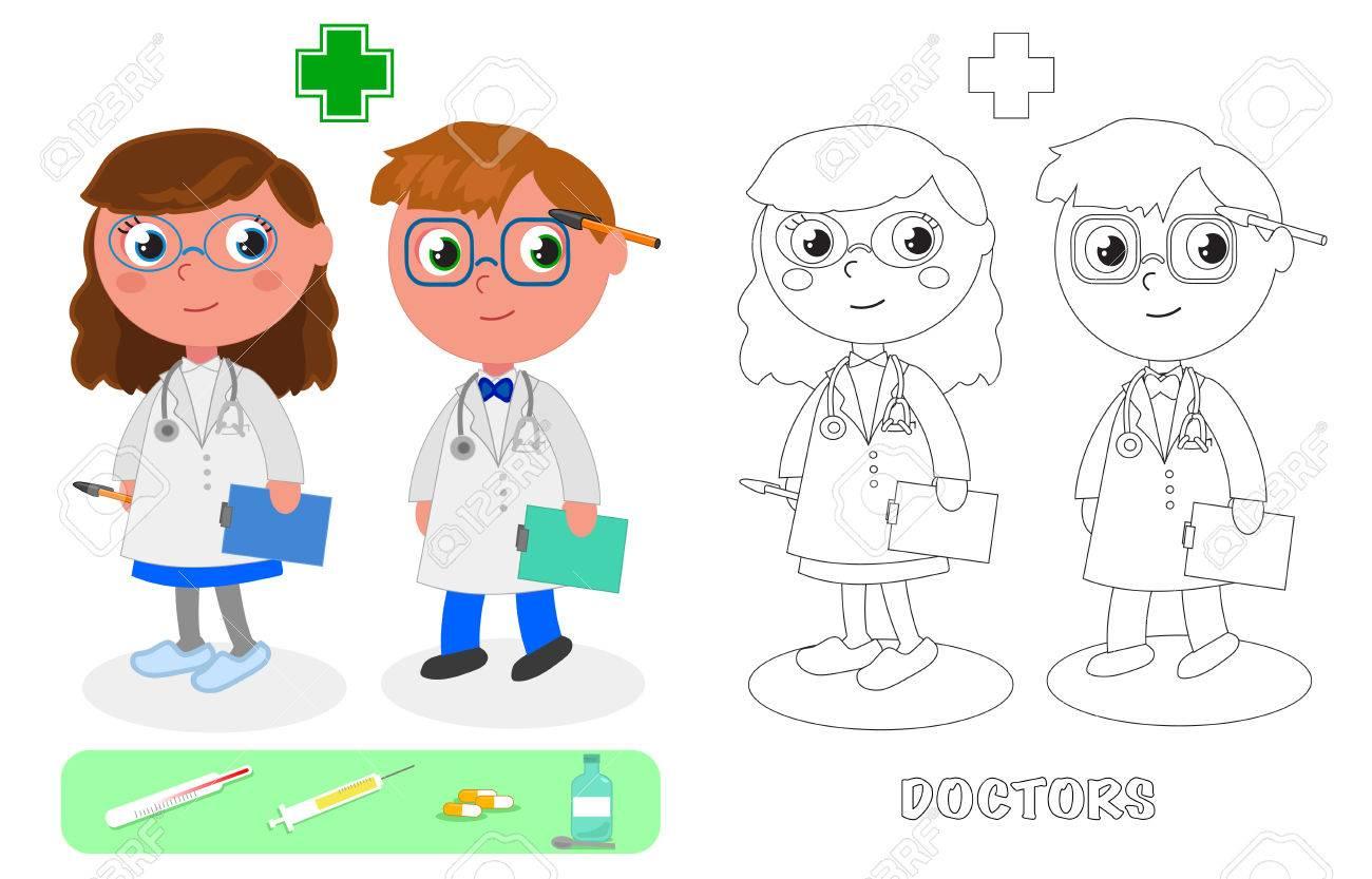Médico Hombre Y Mujer Con Registros Médicos Dibujos Para Colorear