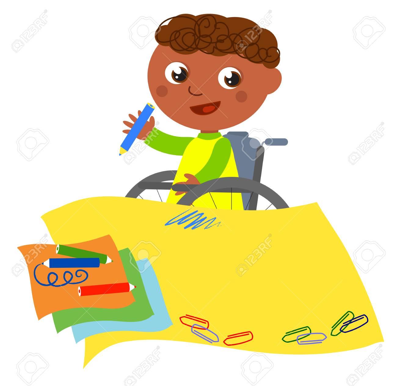 Niño En La Escritura De Silla De Ruedas Con Papel Amarillo ...