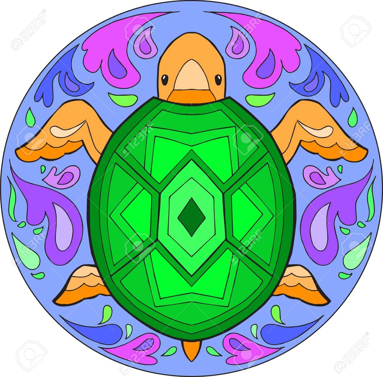 Coloriage Mandala De Tortue.Mandala A Colorier Decoratif Avec Tortue Dans L Eau