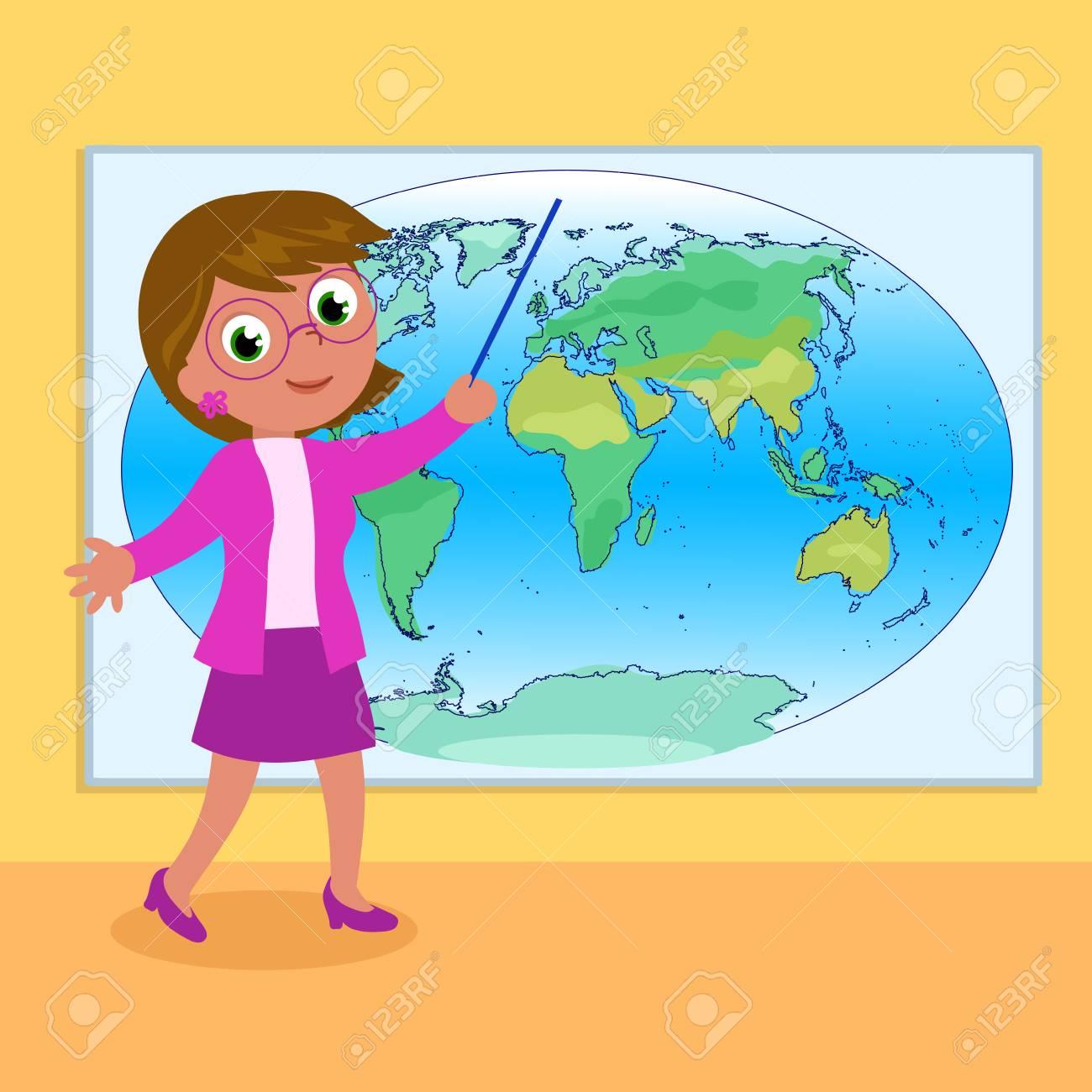 vector woman geography teacher with world map cartoon illustration