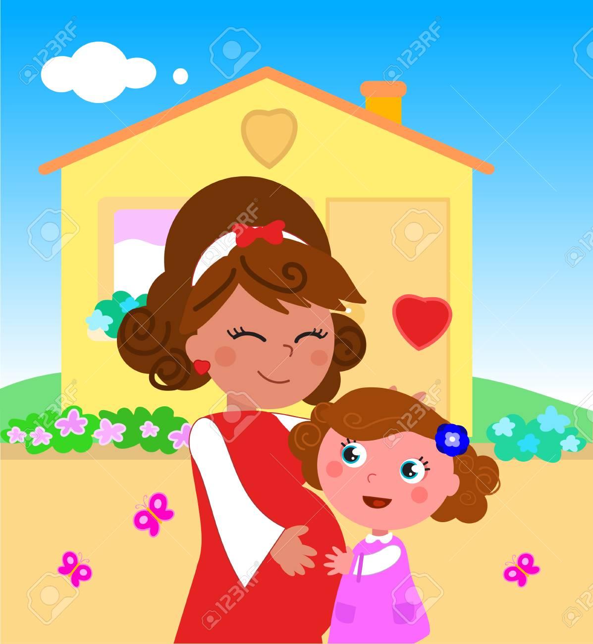 Dessin Animé Mignon Maman Enceinte Et Petite Fille Illustration