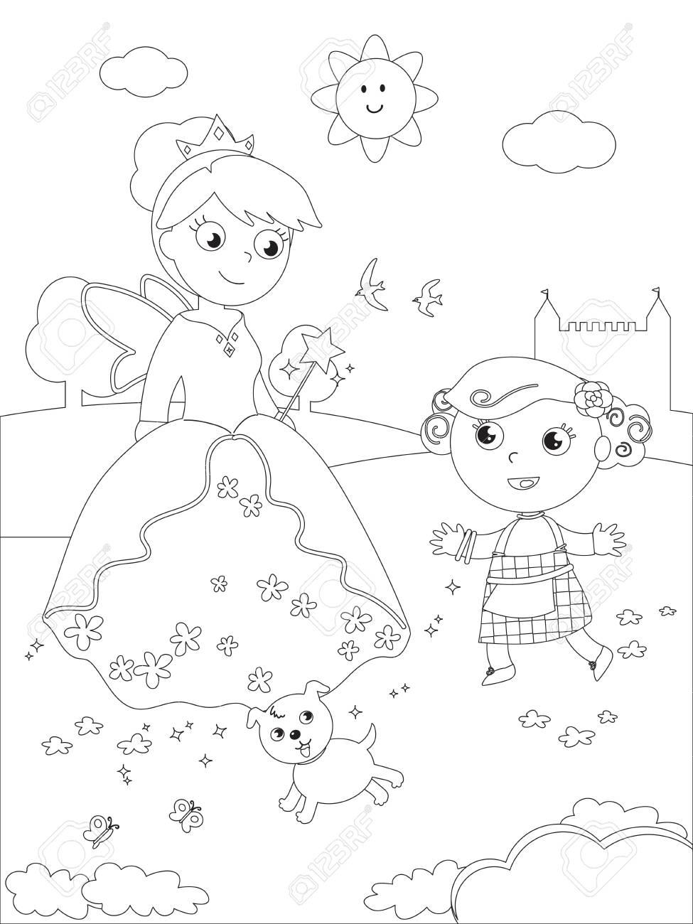 El Mago De Oz Dorothy Con Su Perro Y La Bruja Del Sur Glinda Para Colorear Ilustración Ilustraciones Vectoriales Clip Art Vectorizado Libre De Derechos Image 93989156