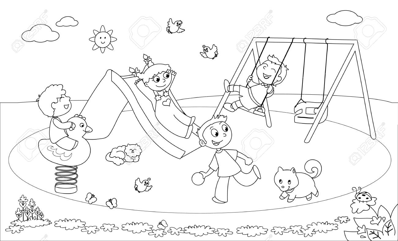 four children playing at the playground coloring illustration