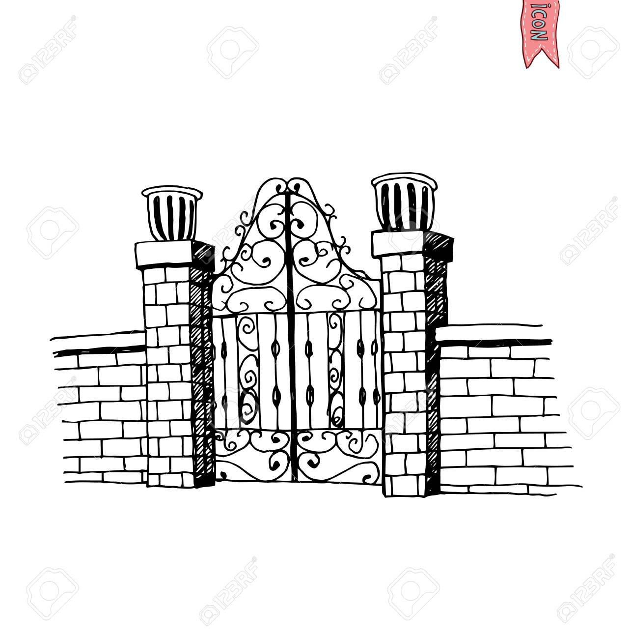 gate icon vector illustration royalty free cliparts vectors and rh 123rf com Cartoon Gate Fruit Vector