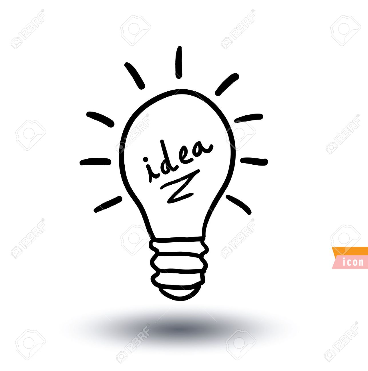 Bulb Lamp Idea Icon Illustration Stock Vector