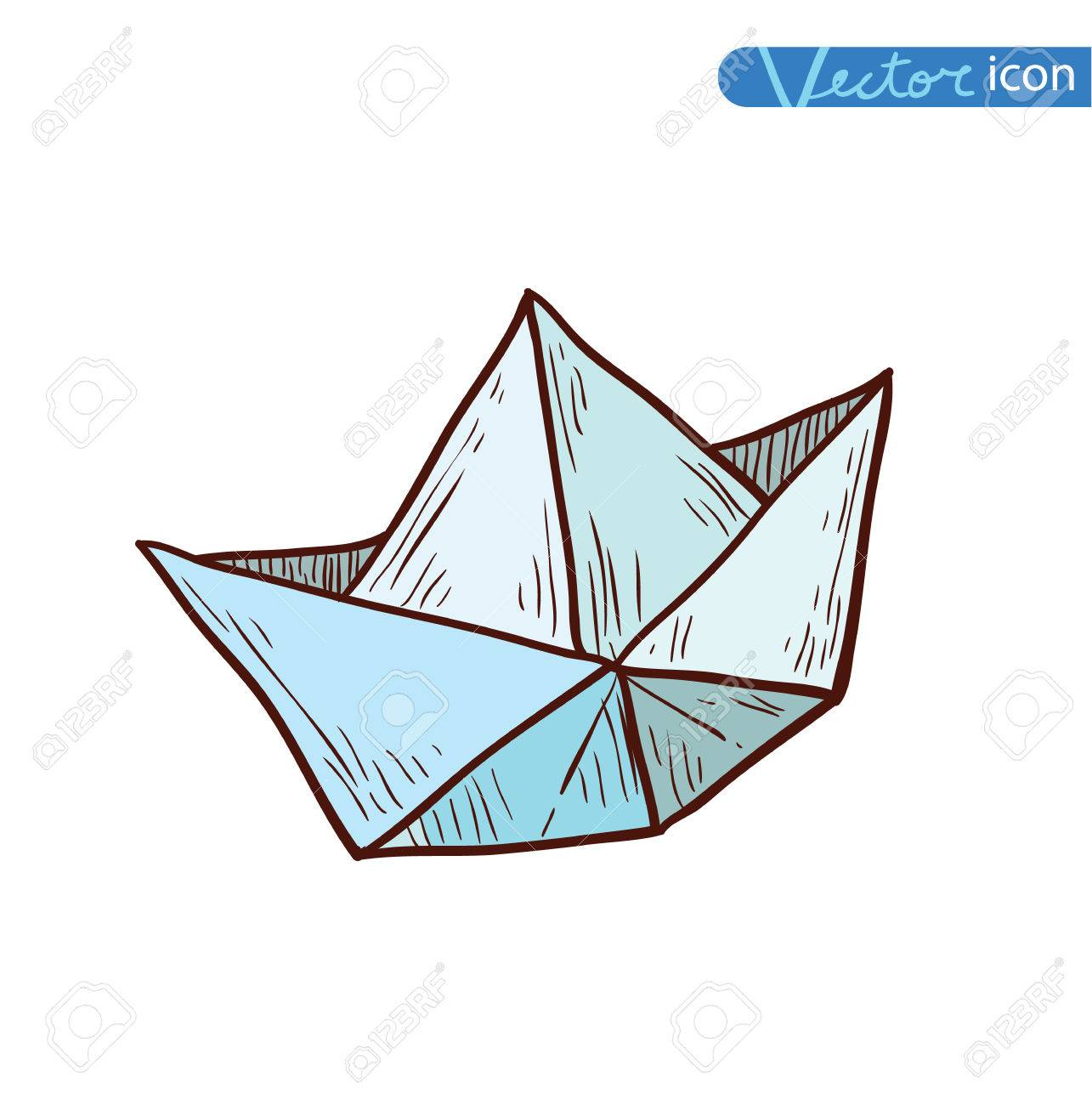 Paper Boat Origami Hand Drawn Illustration Royalty Free Cliparts