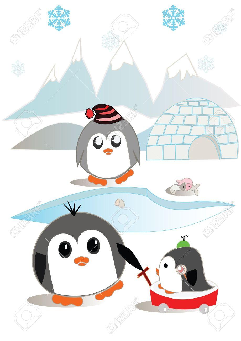 Penguin family illustration Stock Vector - 10994430