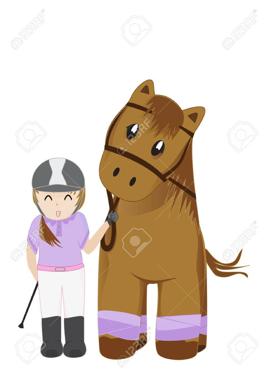 Cute girl and horse illustration Stock Vector - 11912536