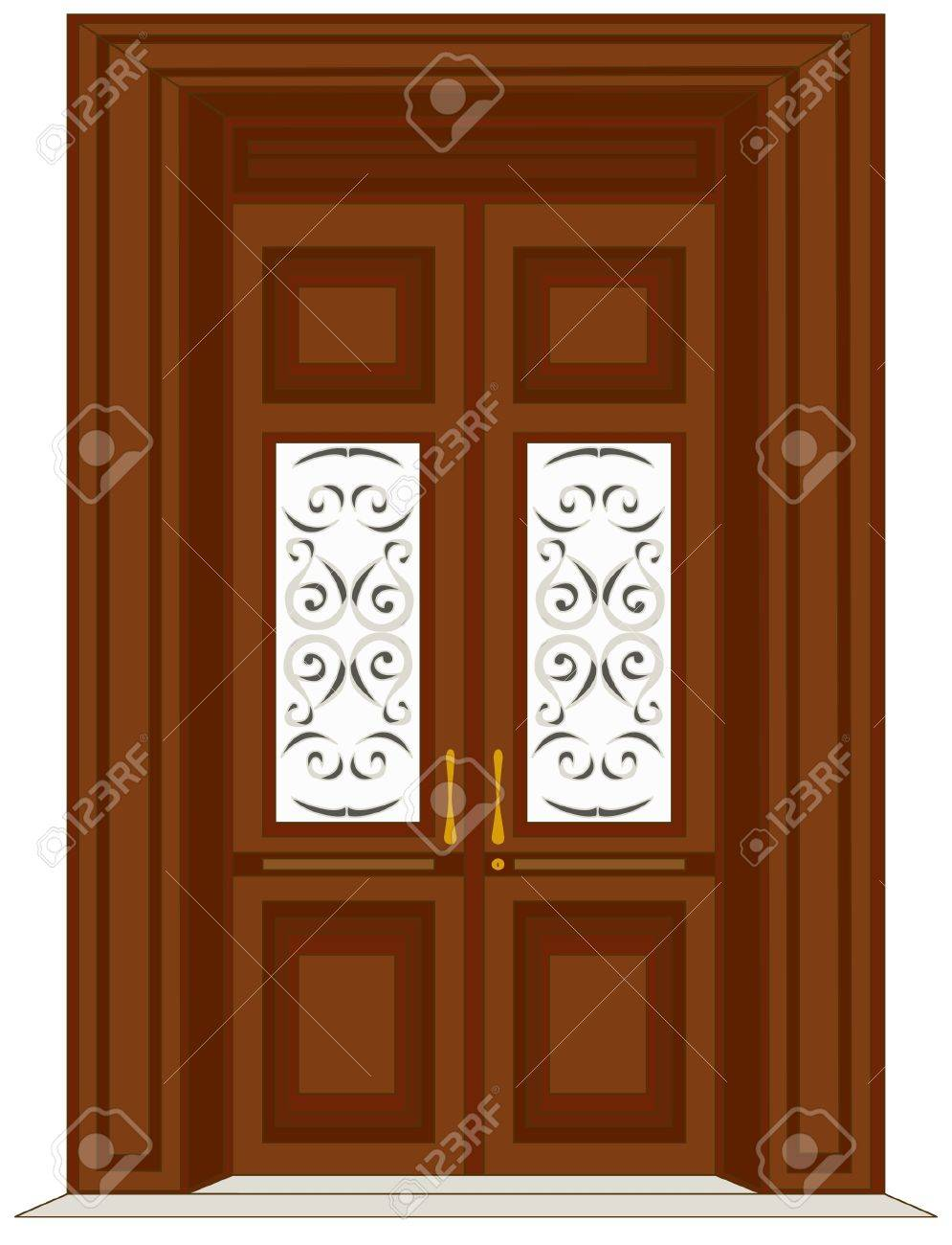 Antique Wooden Door Illustration Stock Vector   12000860