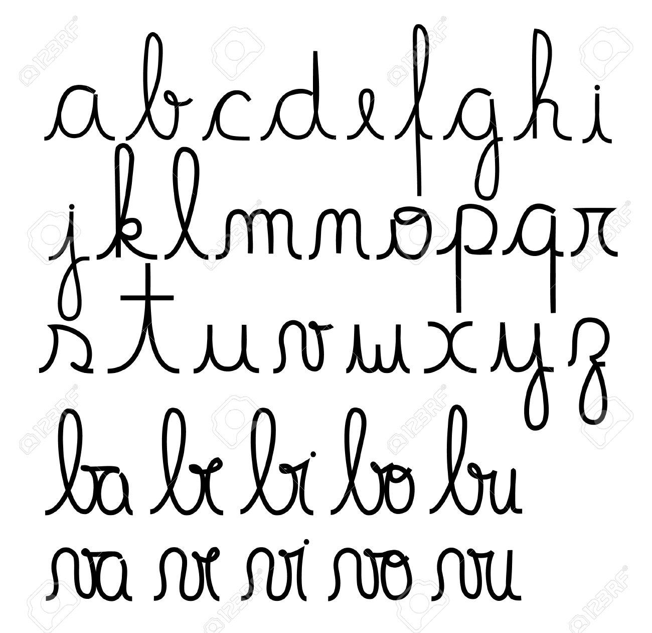 Worksheets Alphabet In Cursive cursive alphabet royalty free cliparts vectors and stock alphabet