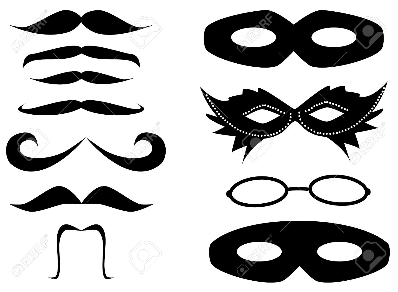 Mustaches and masks set Stock Vector - 14586455