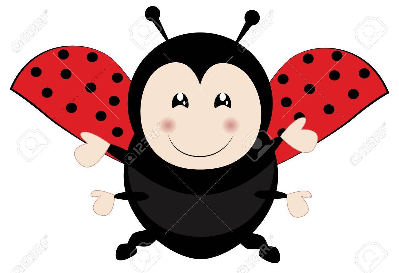 Cute ladybird flying Stock Vector - 16594932