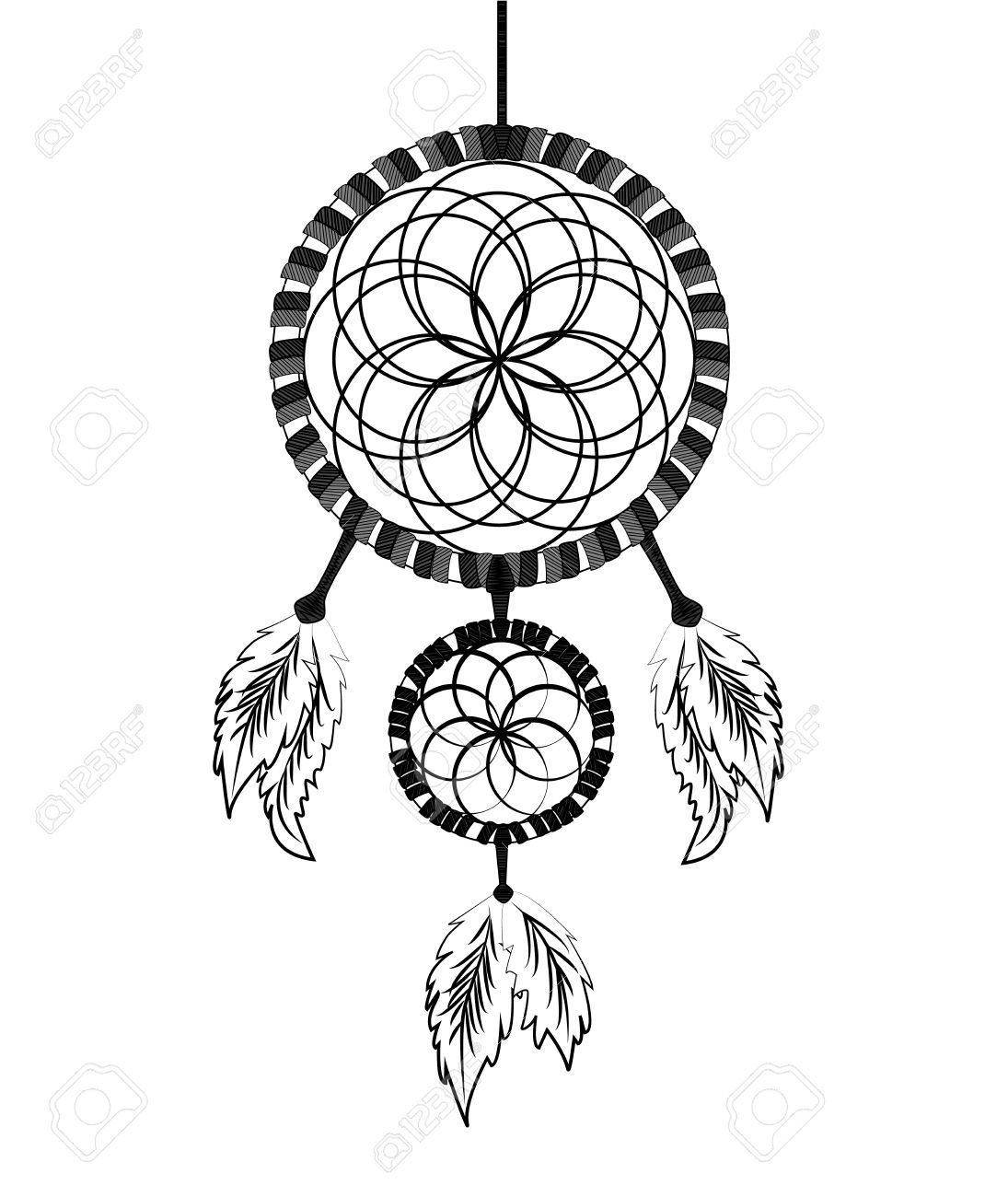 dream catcher ink illustration vector royalty free cliparts vectors rh 123rf com dream catcher vector dream catcher vector free