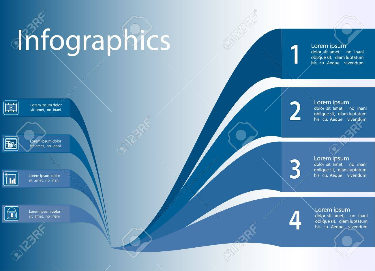 Infographics blue waves Stock Vector - 20010863