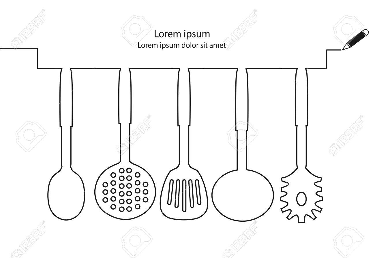 kitchen utensils continuous line design vector stock vector 38608800