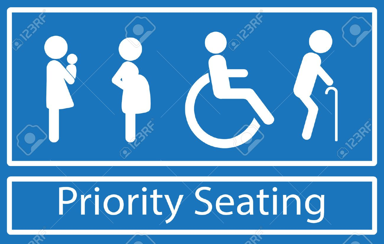 Priorität Sitzzeichen. Behinderung, ältere Menschen, Schwangere Und ...