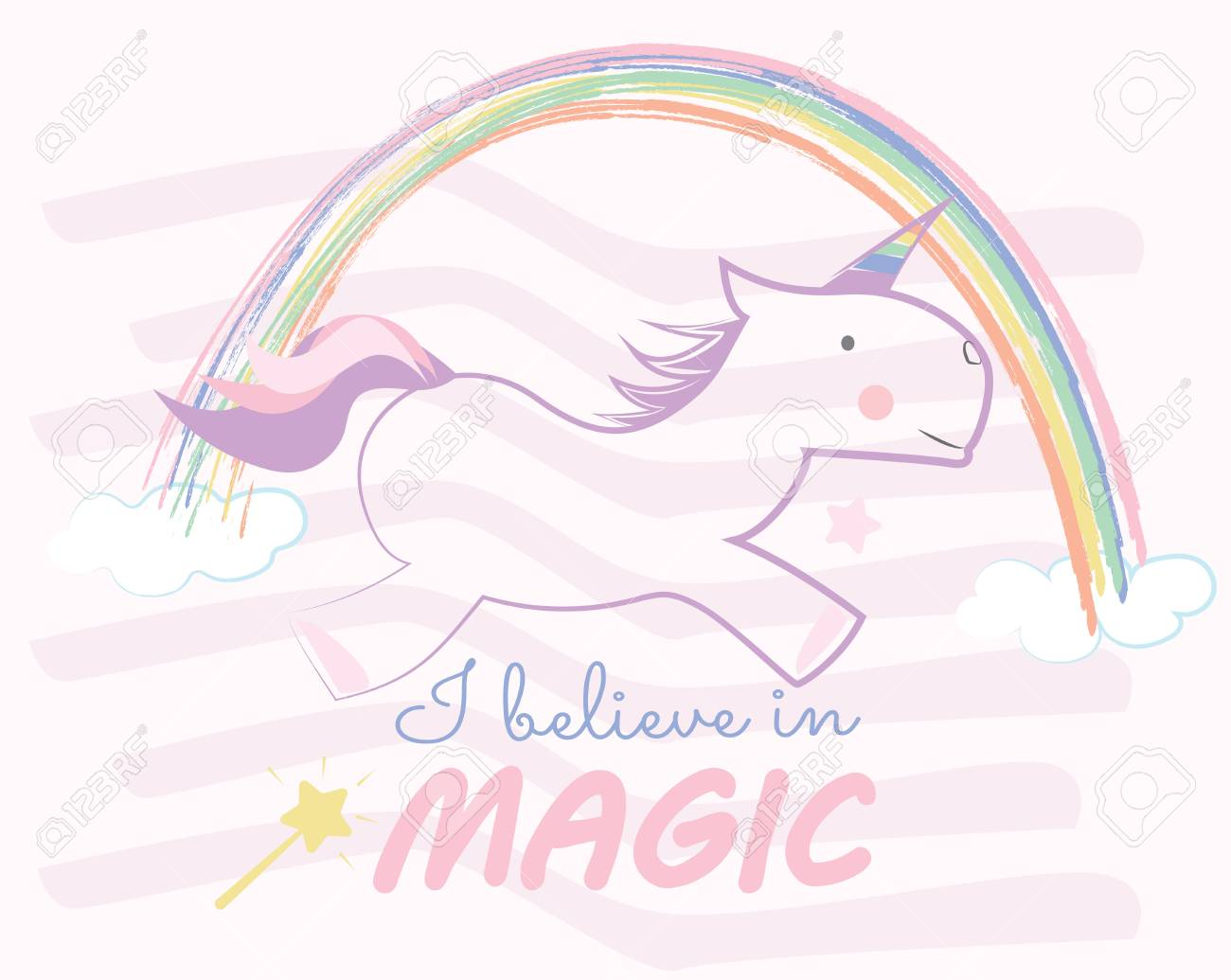 Unicorn Children Style Drawings Cute Baby Horse And Rainbow Royalty Free Cliparts Vectors And Stock Illustration Image 70957829