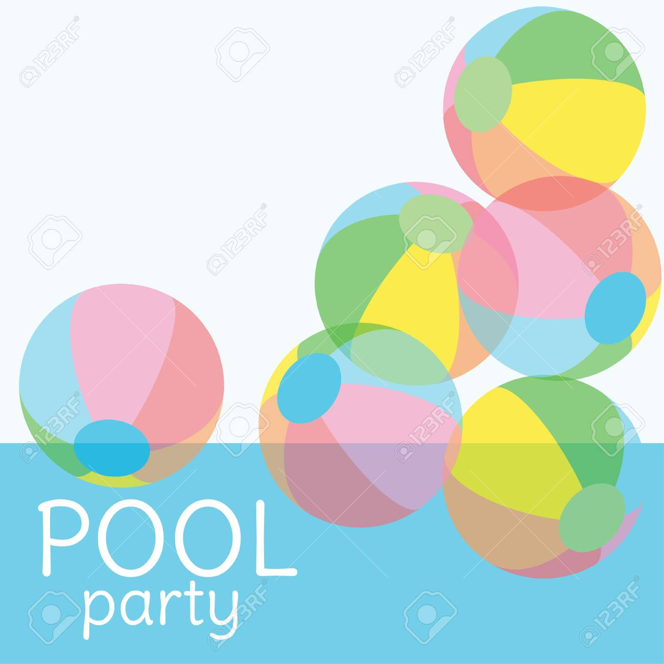 Pool party invitation vector background with copy space for text pool party invitation vector background with copy space for text colorful transparent ball in swimming stopboris Images