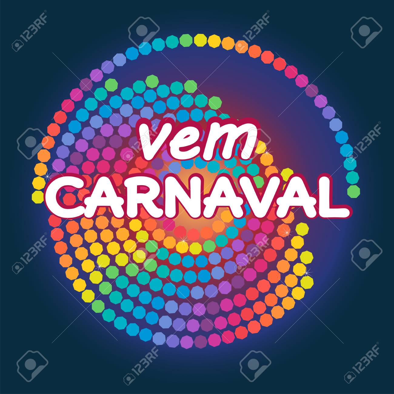 Vem Carnaval is Canival is coming in portuguese. Modern background vector. Confetti festive colorful carnival graphic design illustration. - 93233435