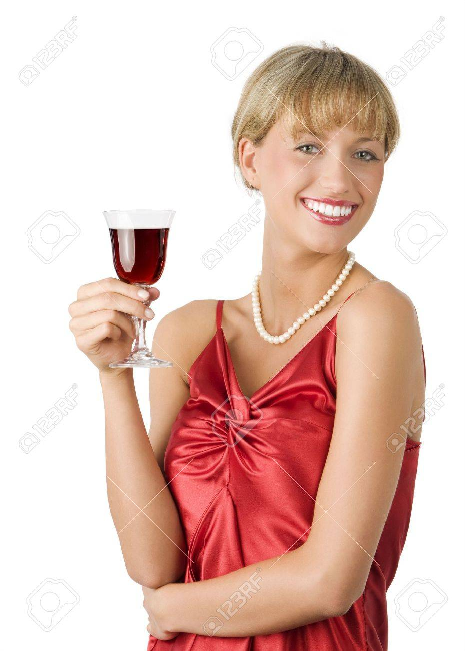 stylish lady in red dress drinking a glass of red wine with a great smile Stock Photo - 3429396