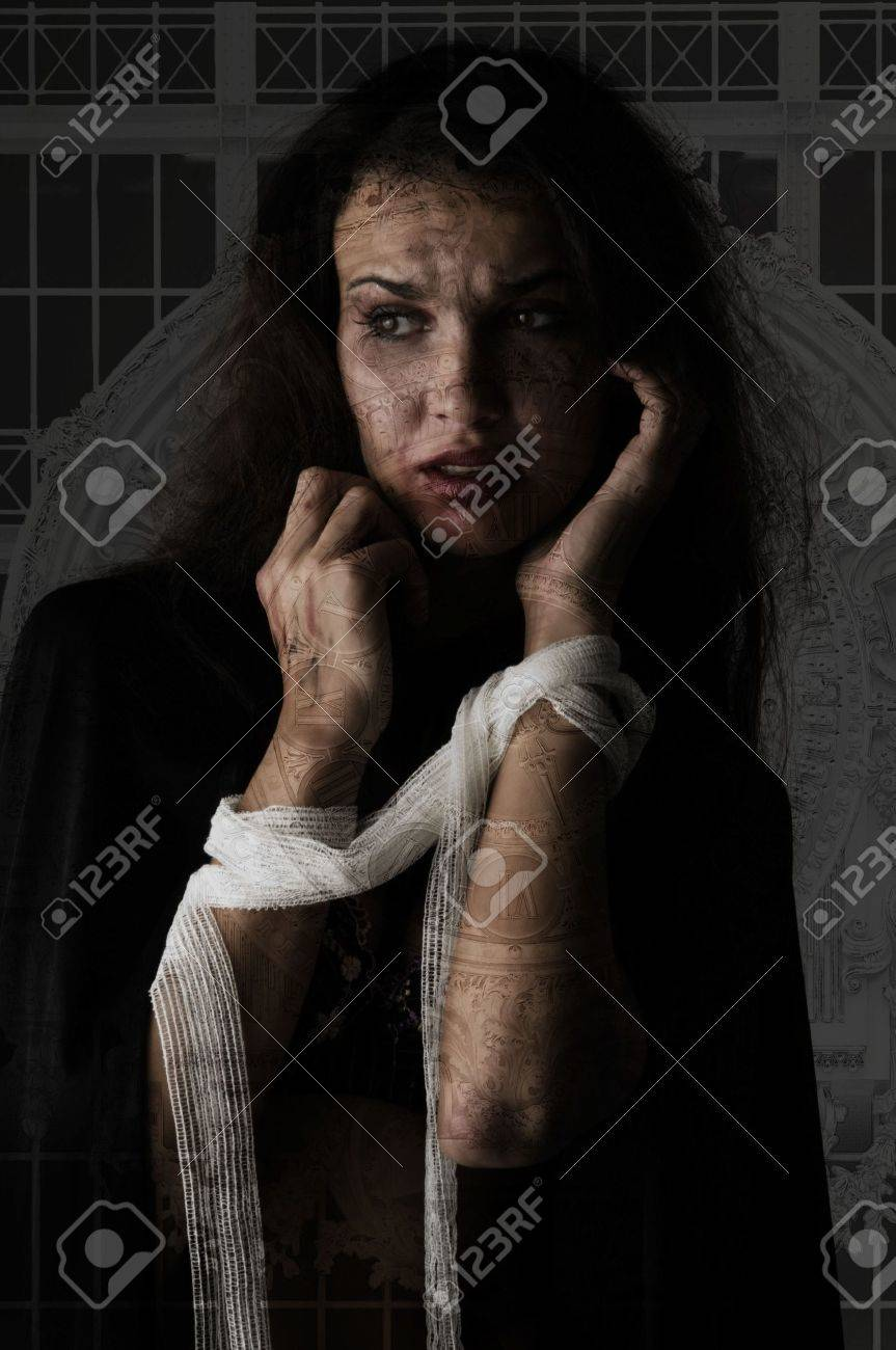 woman with patch around her arms in visible panic Stock Photo - 3689605