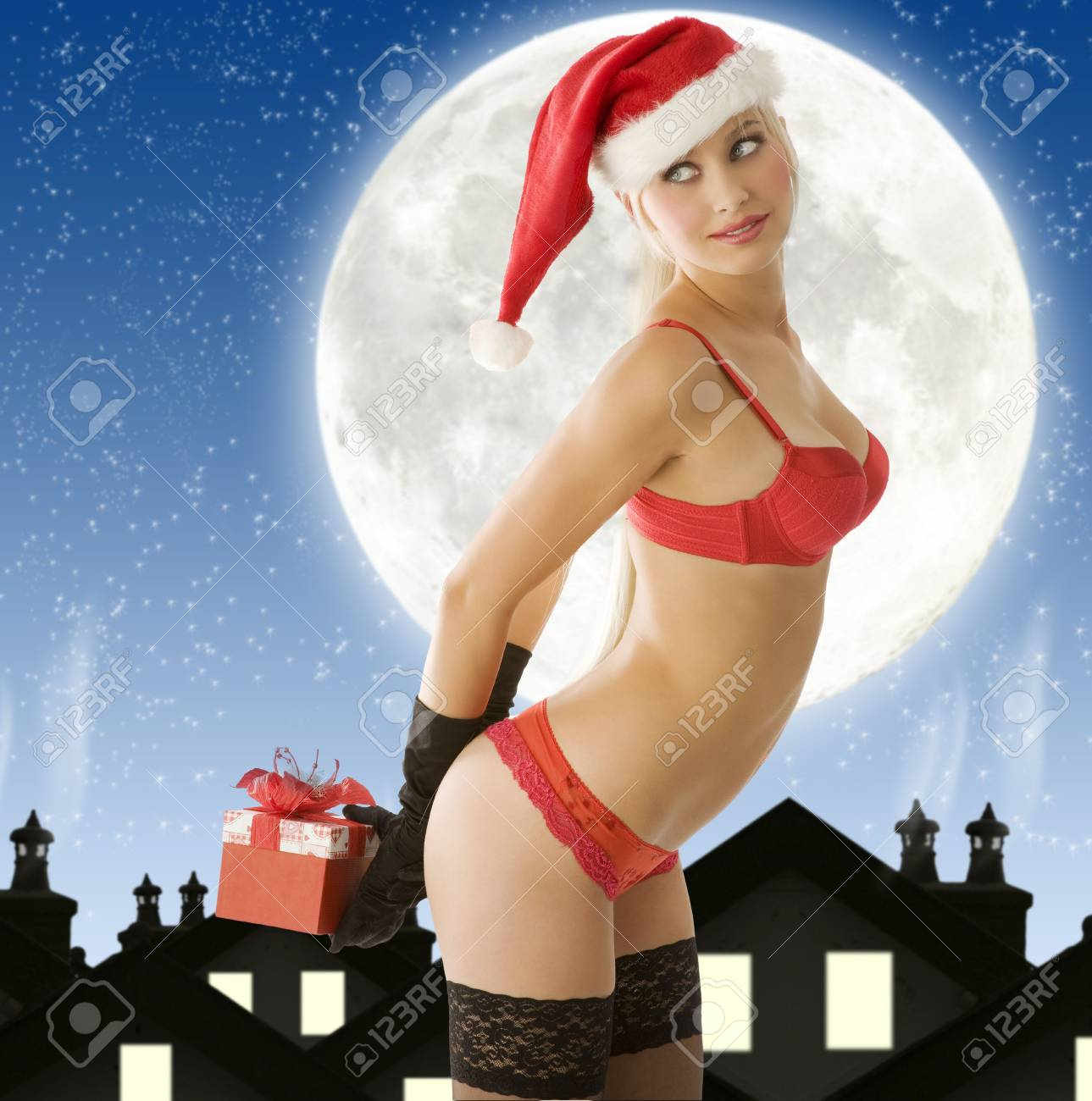 sexy christmas blond in lingerie with a big moon as background Stock Photo - 3886700