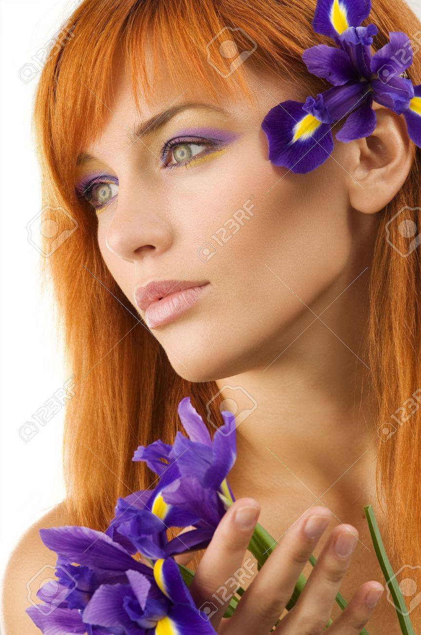 Close-up portrait of a fresh and beautiful young model with flower Stock Photo - 4104455