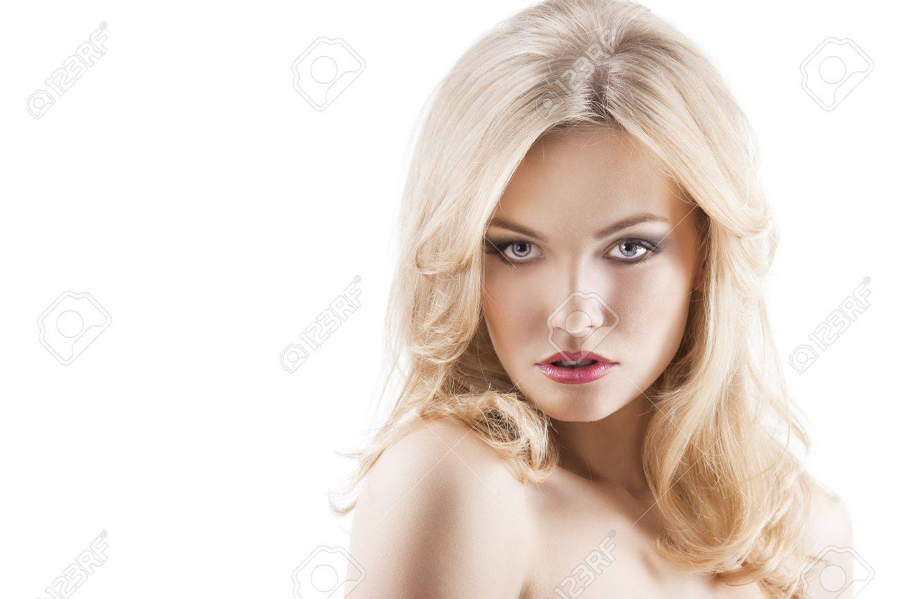 Classic Beauty Portrait Of Young Sexy Girl With Hairstyle And Flying Hair From Wind She
