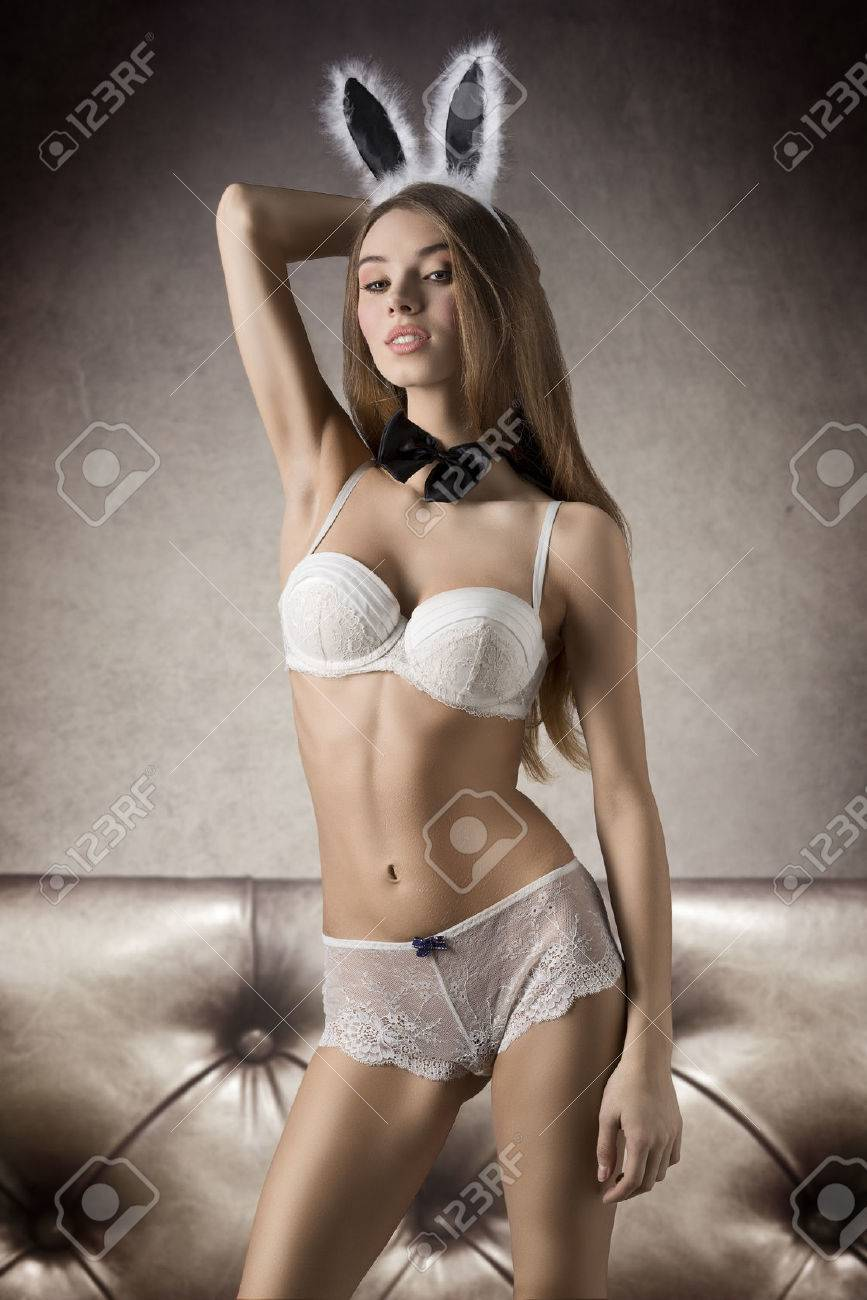 Blonde lingerie girls Charming Beautiful Blonde Girl In White Lingerie And Rabbit Ears She Has Got Light Makeup And Long Straight Hair Stock Photo Picture And Royalty Free Image Image 37539313