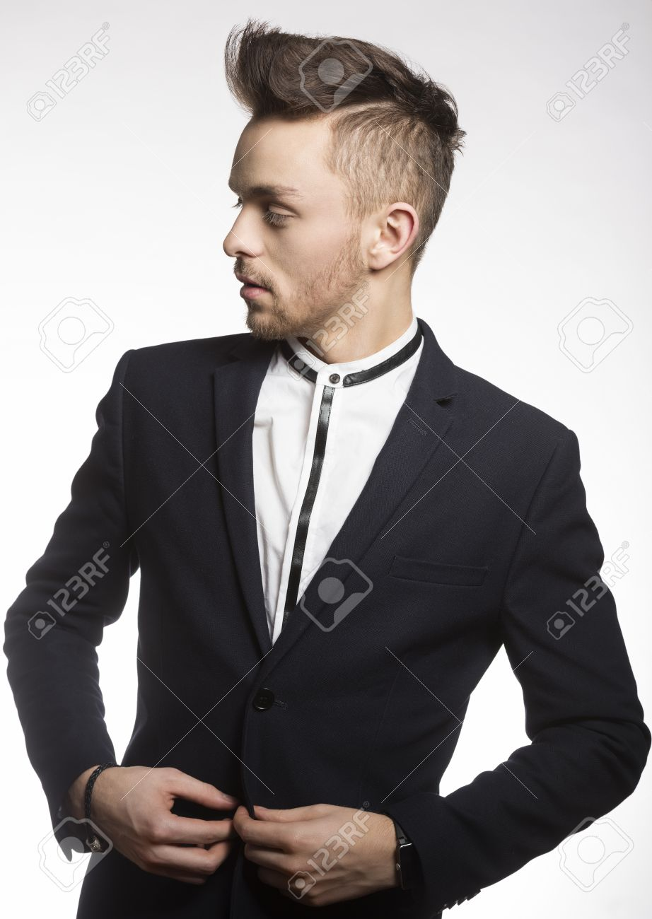 Fashion Young Model Male , Wearing A Trendy Black Suit , With ...