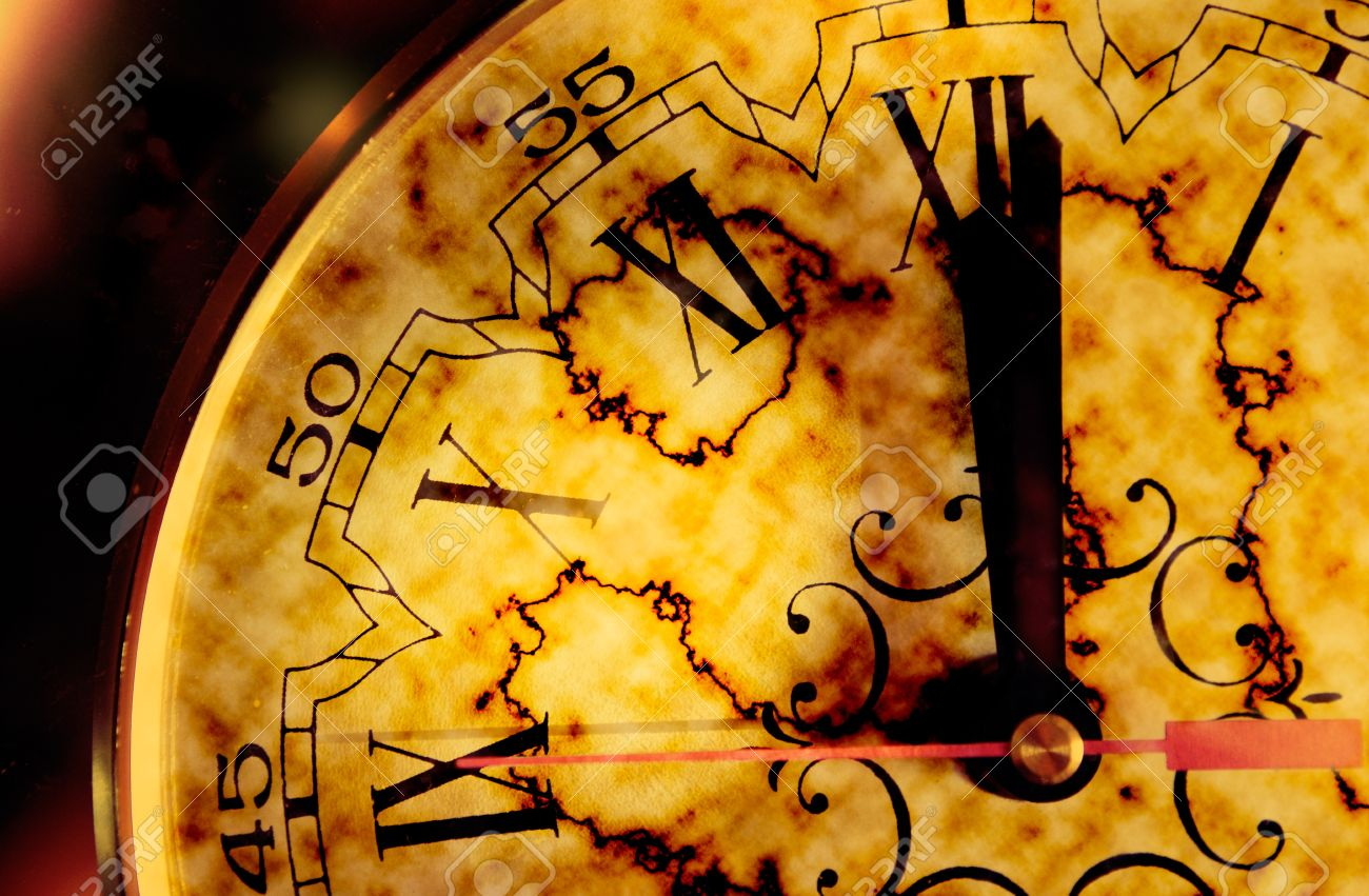 Time concept with grunge old clock