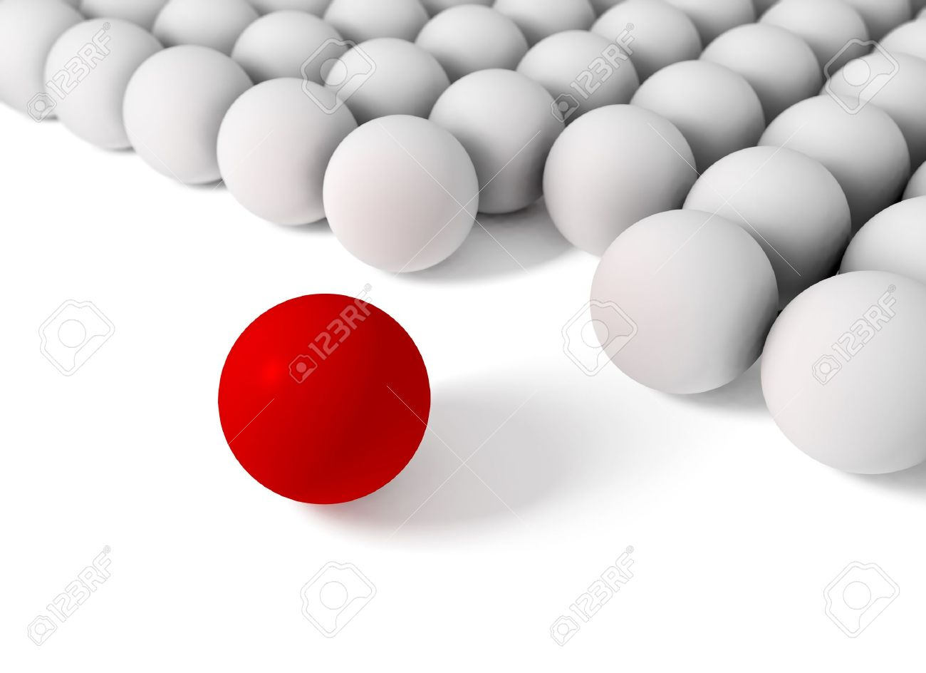 3d image of concept of difference with balls stock photo picture