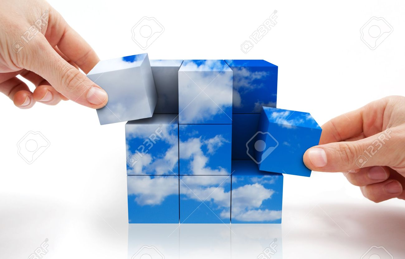 Concept of sustainable development with Cube puzzle and sky Stock Photo - 9301437