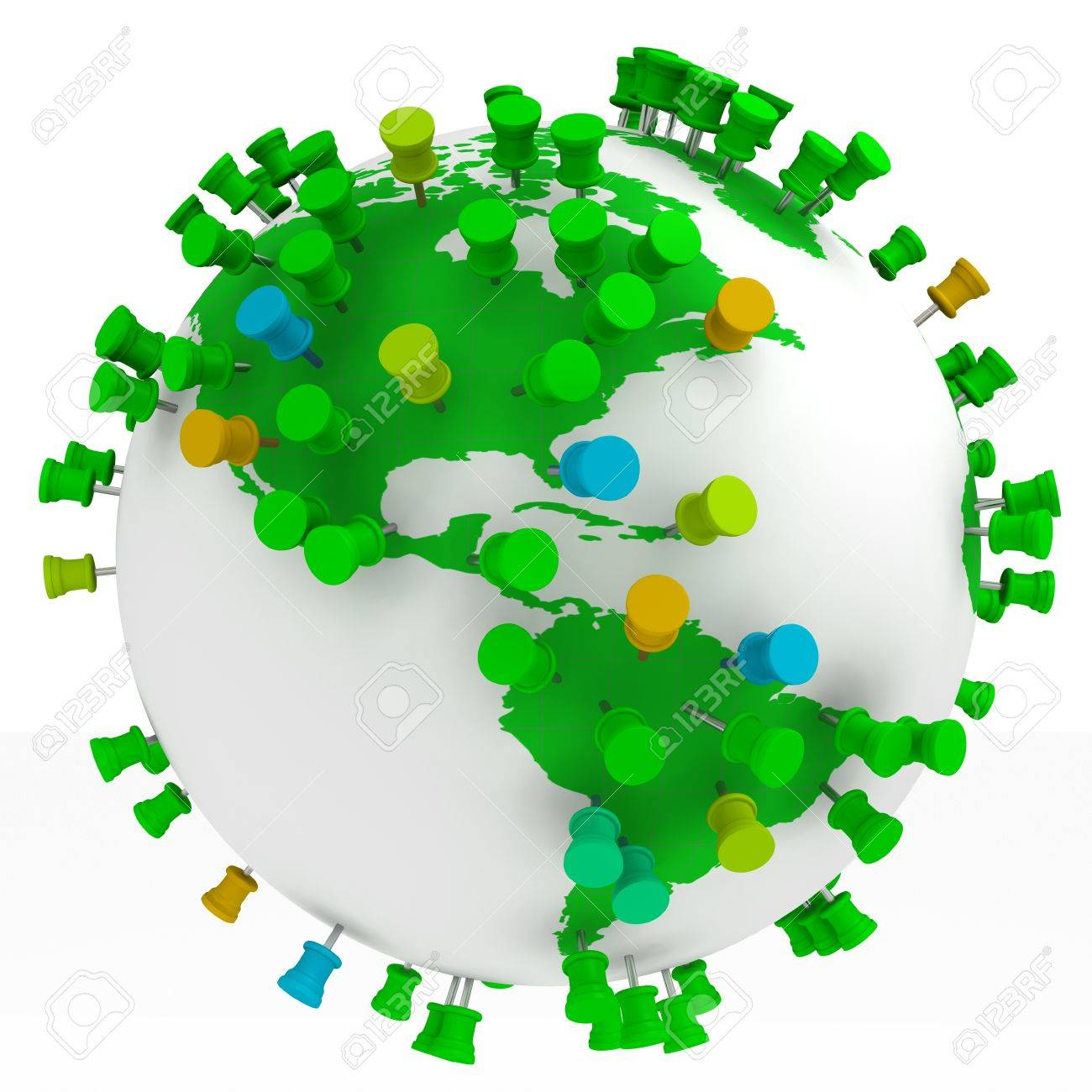 globe world map and push pins isolated in white stock photo picture