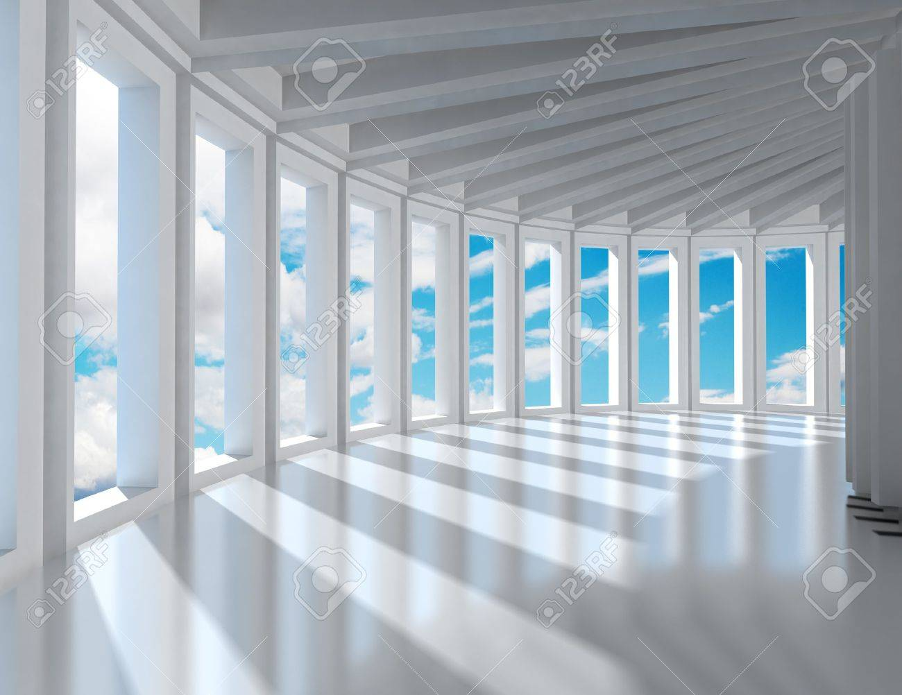 Empty modern interior architecture and blue sky Stock Photo - 9869180