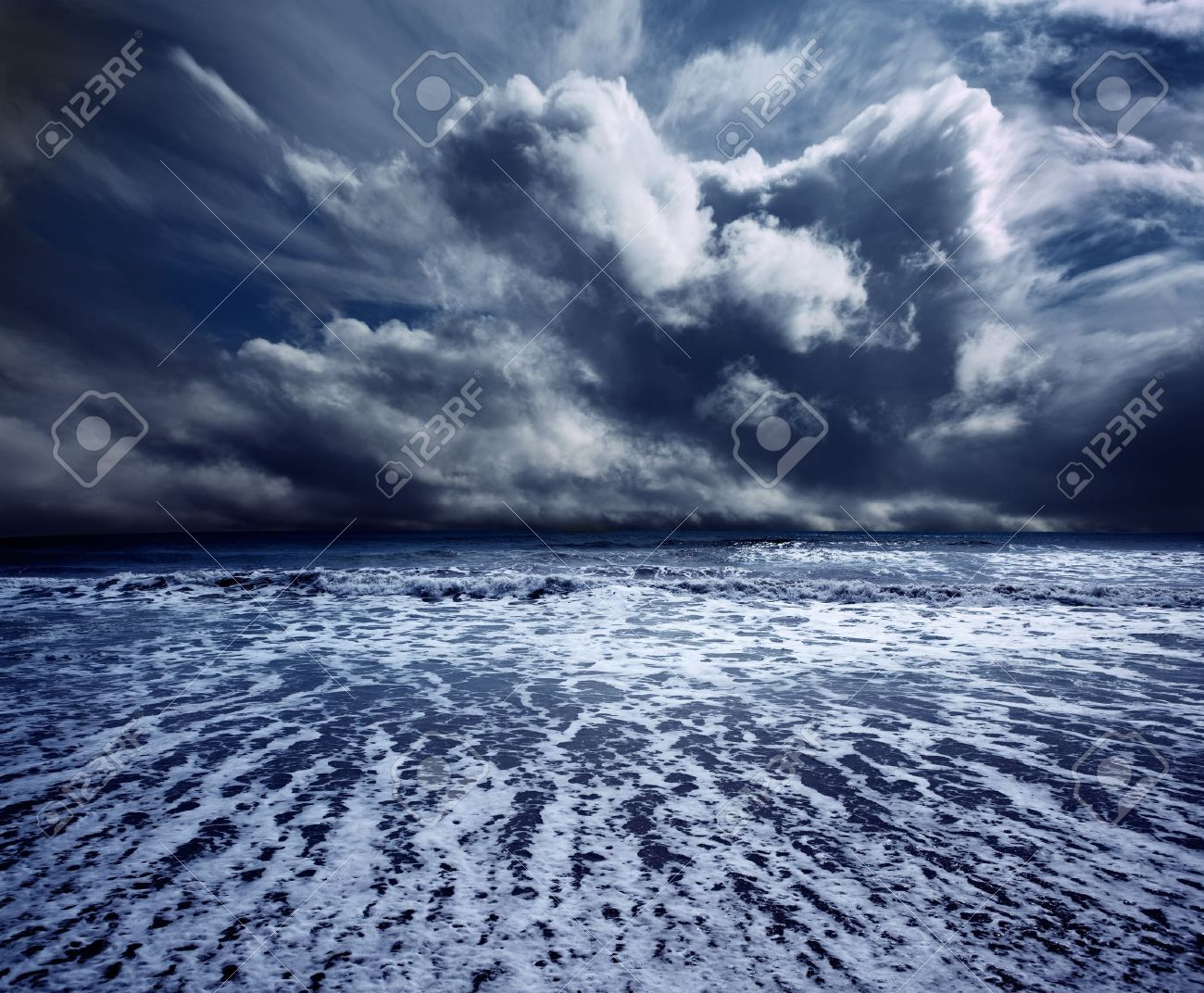 Background ocean storm with waves and clouds Stock Photo - 9867039