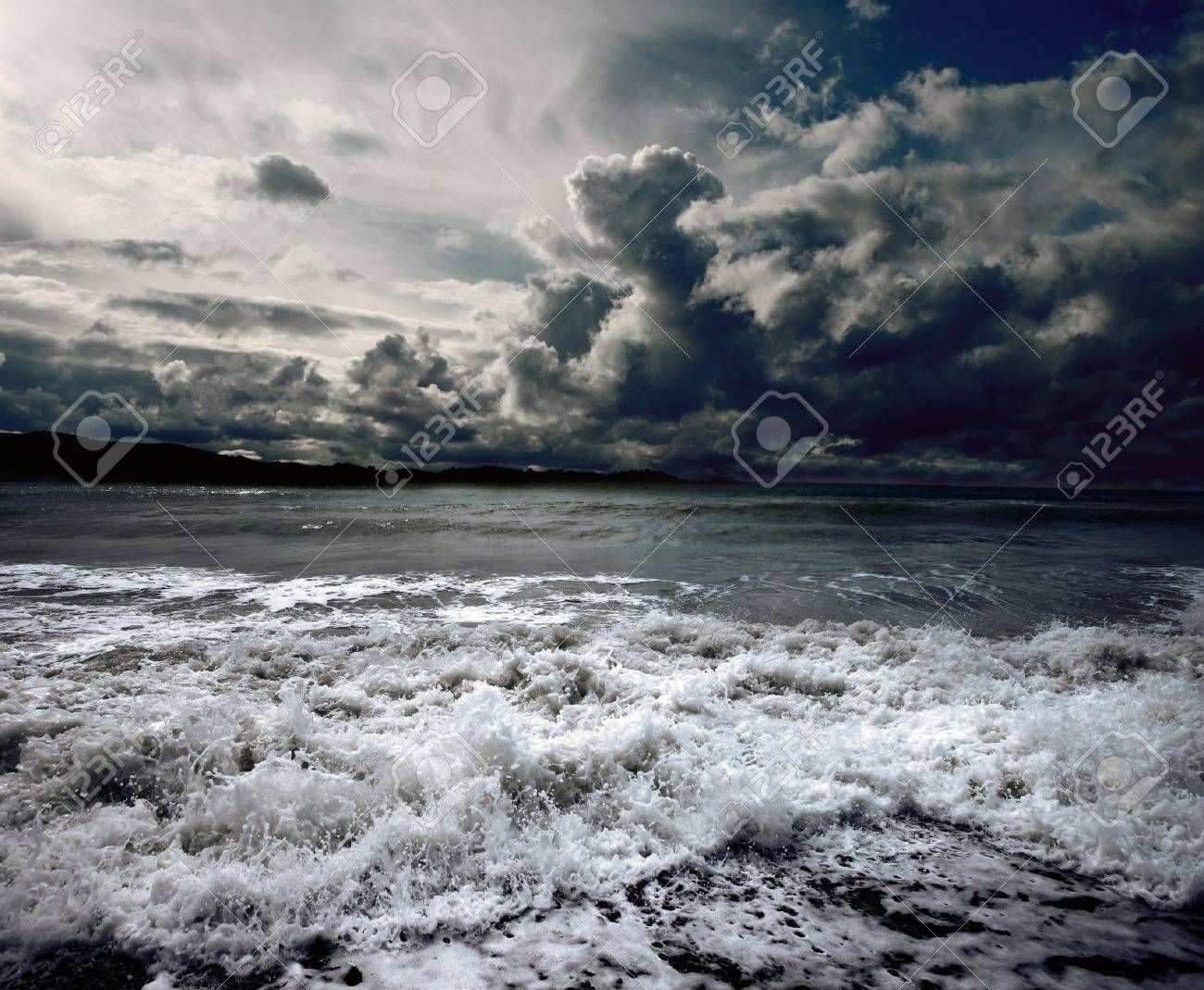 Background ocean storm with waves and clouds Stock Photo - 9867040