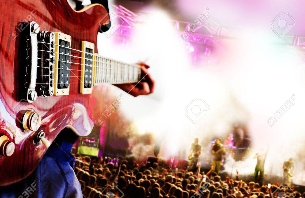 Live Music Background,Guitar Player And Public Stock Photo ...