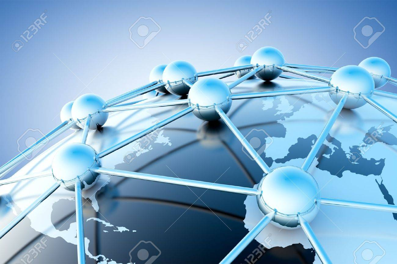 Networking and internet concept with globe world map - 18586039