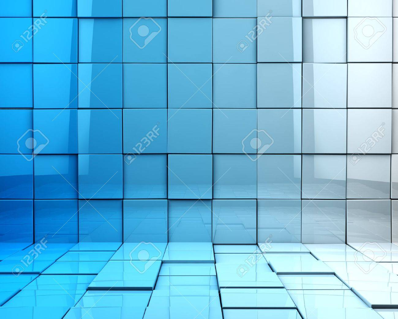 Abstract 3d cubes background in blue toned - 18586050