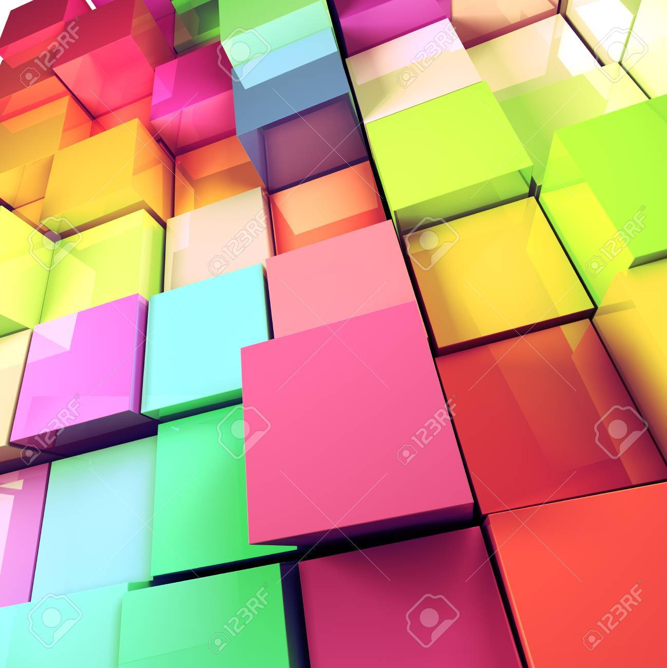 Abstract 3d colored cubes background - 18586163