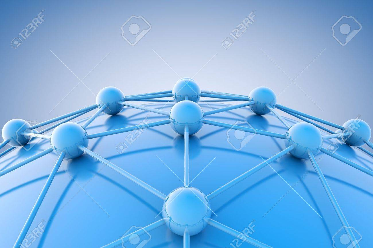 3d image of blue diagram or net.Networking and internet concept. - 18585985