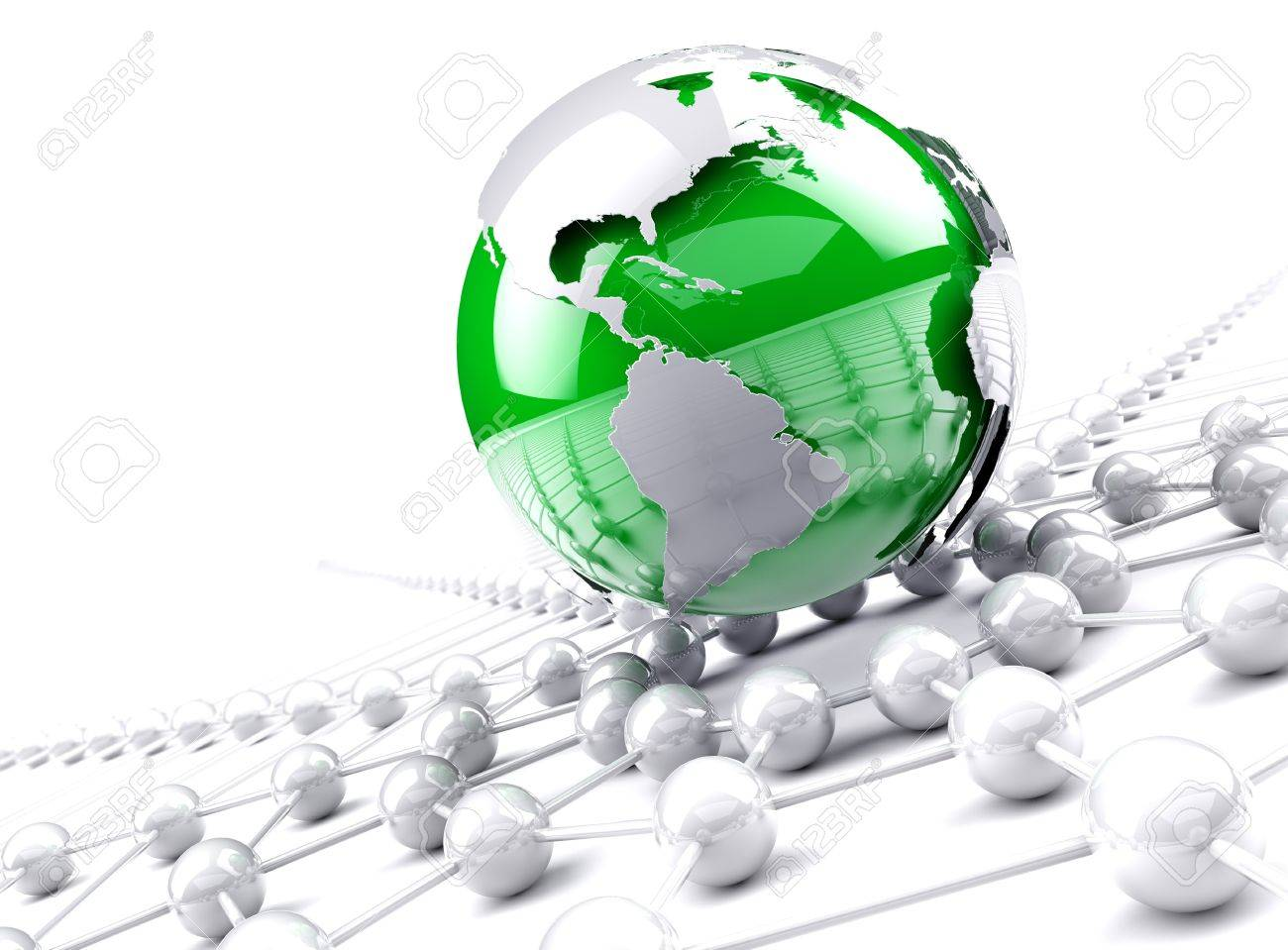 Globe world map.Internet and business networking concept - 18585986