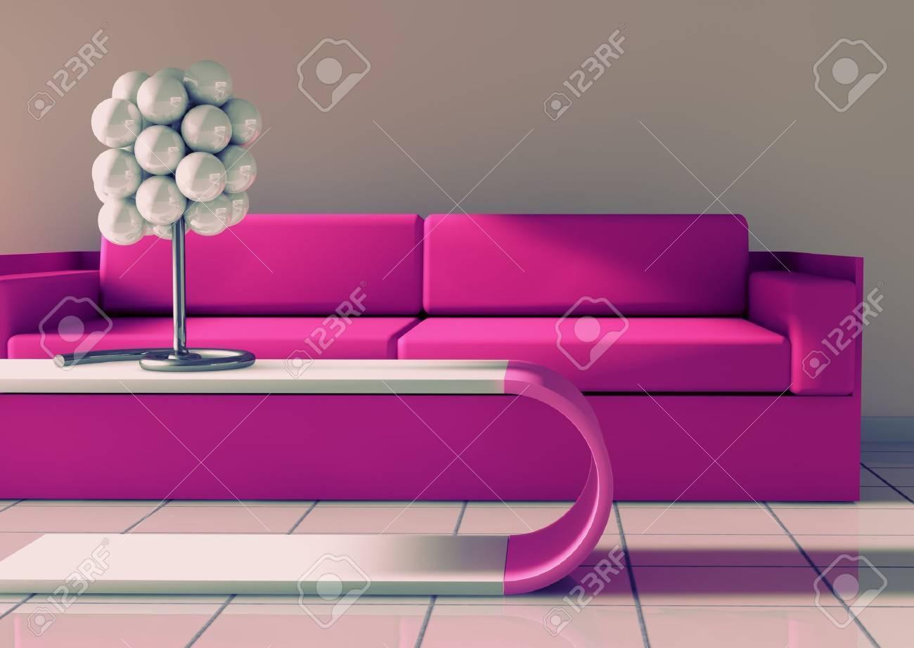 3d interior architecture.modern sofa und tisch in rosa getönten