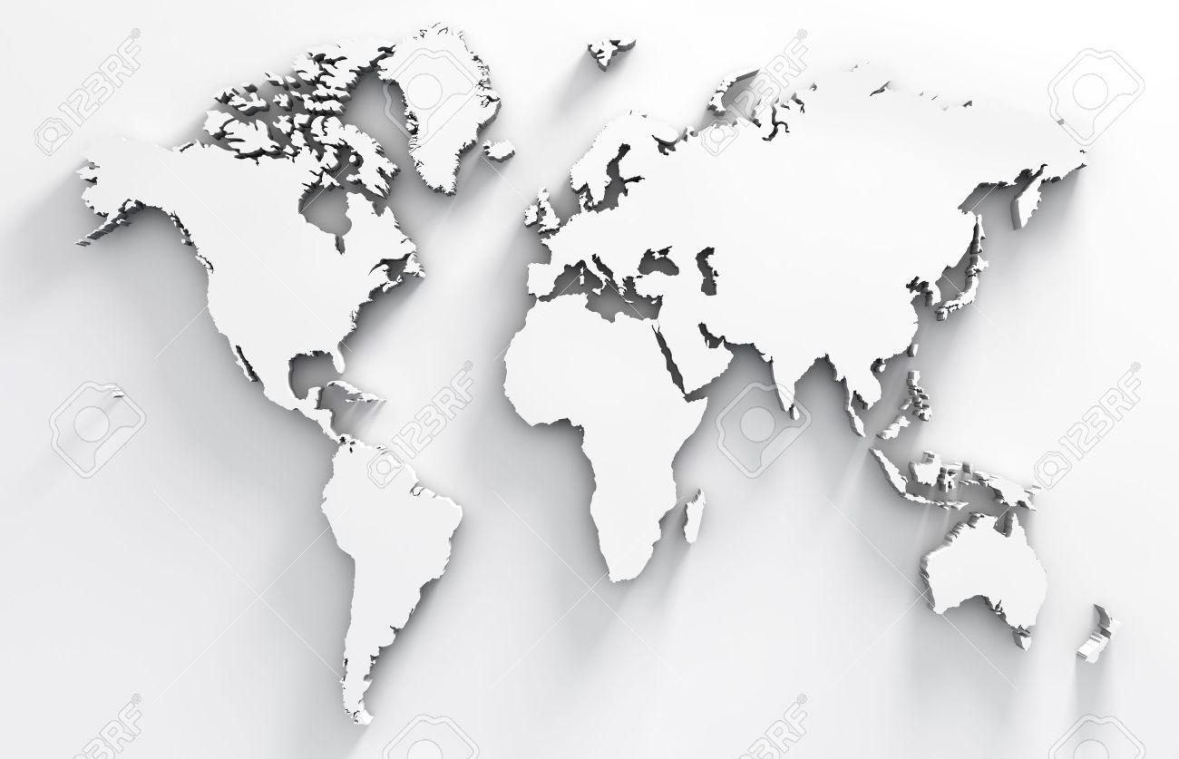 3d Image Of White World Map Stock Photo, Picture And Royalty Free ...
